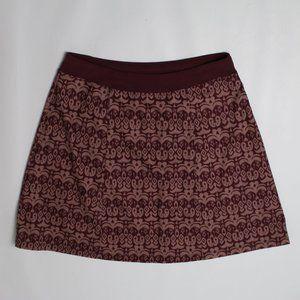 PrAna burgundy red paisley A-Line knit skirt